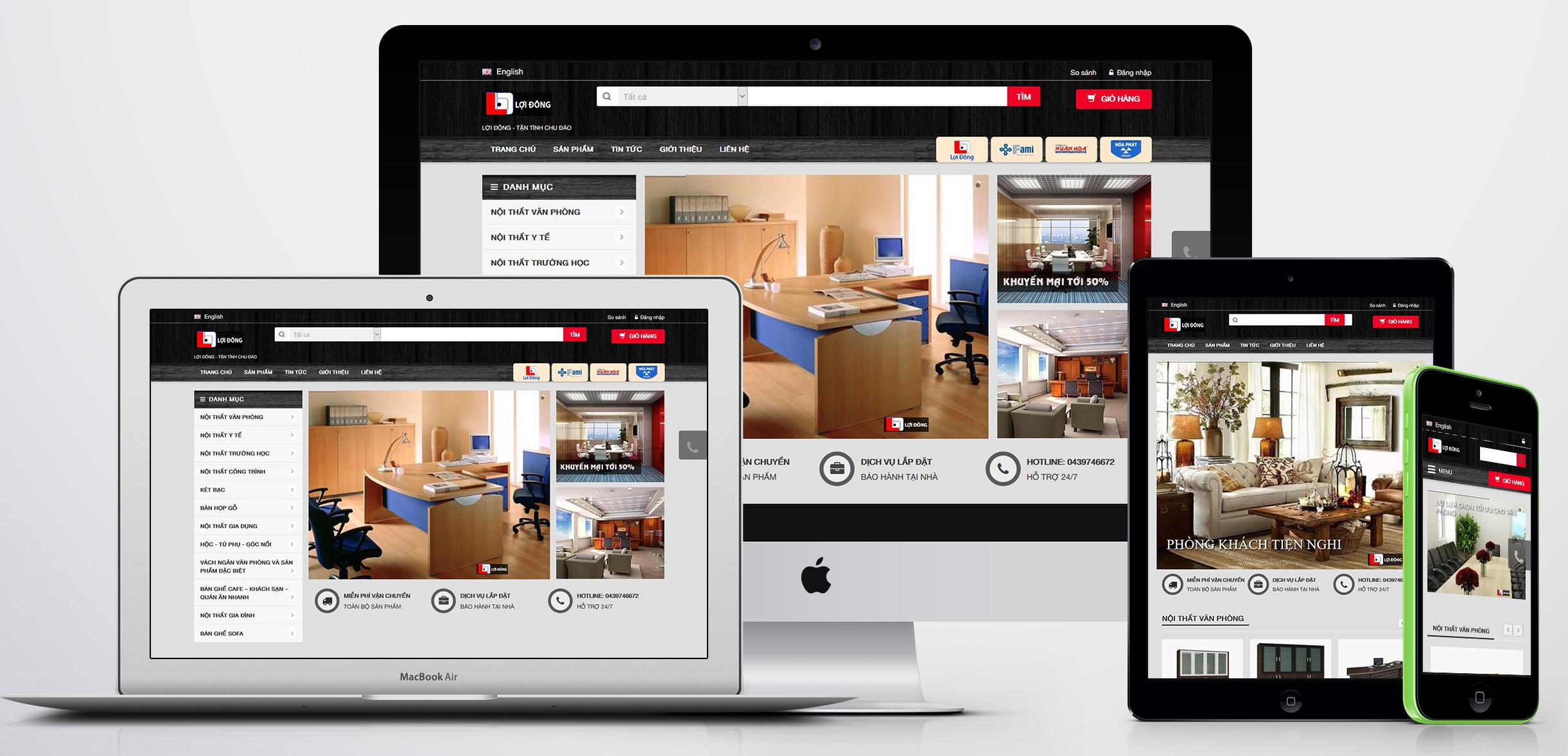 thiết kế website bán hàng nội thất công ty lợi đông