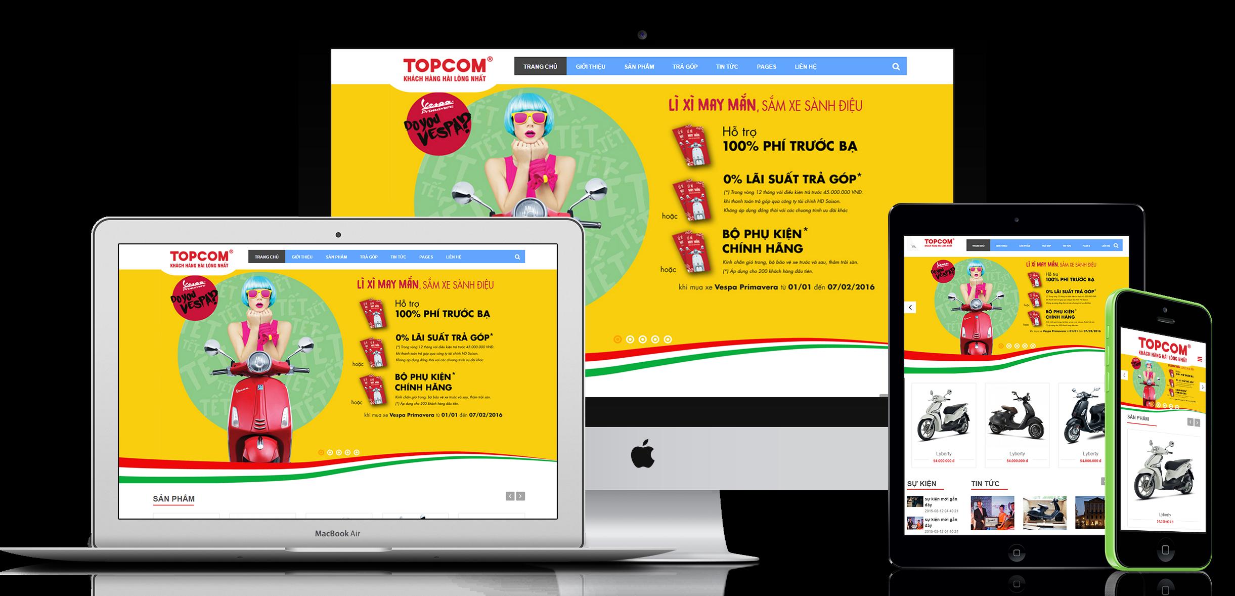 thiết kế website bán hàng showroom TOPCOM
