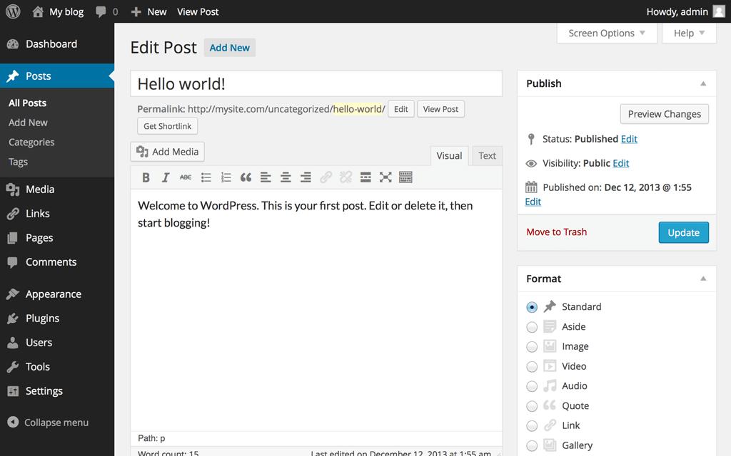 hệ quản trị khó sử dụng của wordpress