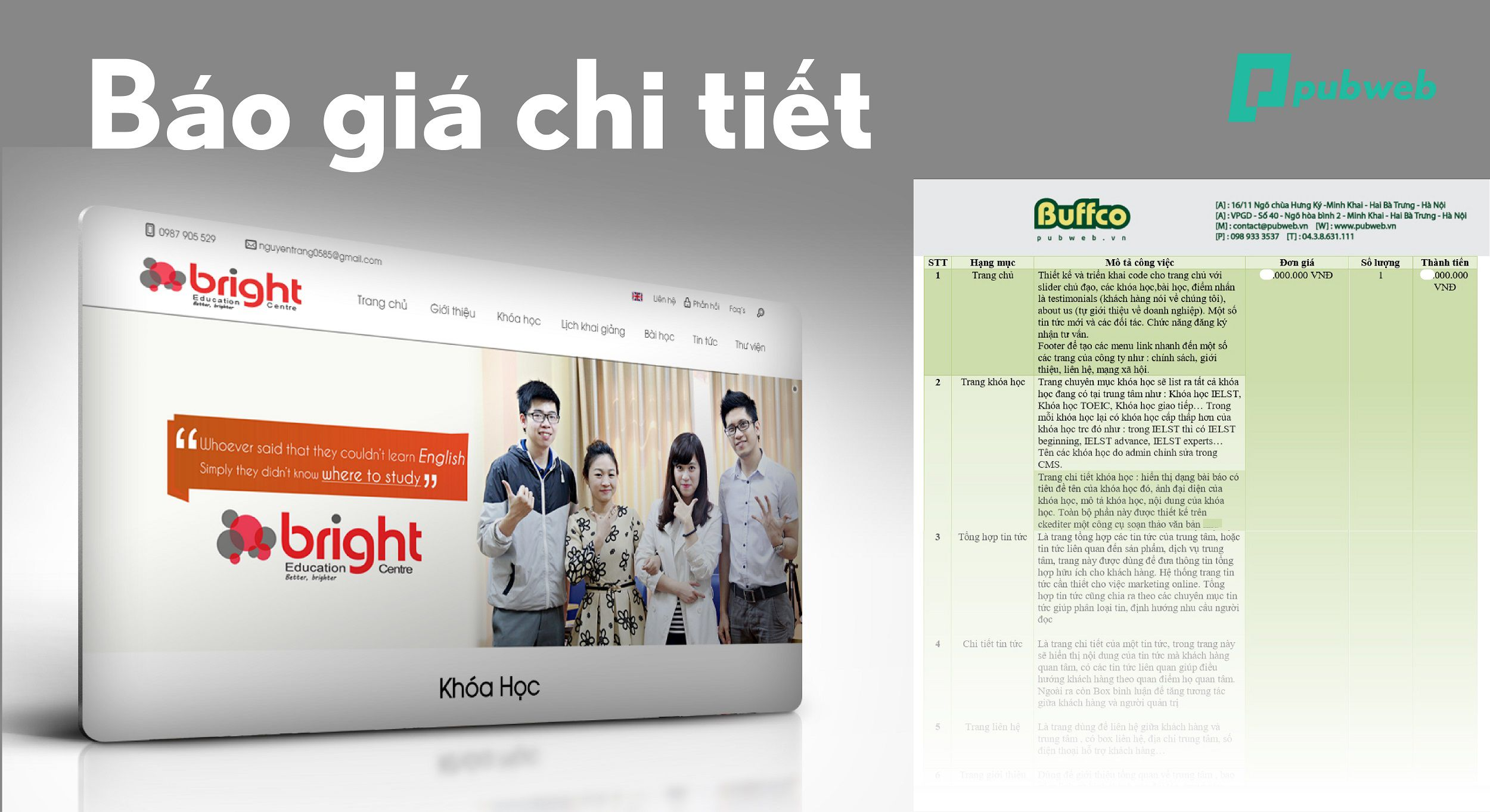 Báo giá dịch vụ thiết kế website giới thiệu công ty